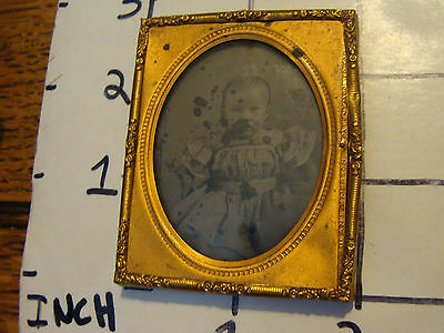 vintage Photo BABY in metal frame, small spotting as shown.