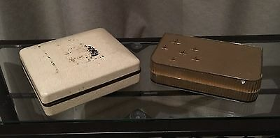 TWO VERY OLD VINTAGE JEWELLERY BOXES-No1 IS LEATHER COVERED-No2 IS EARLY PLASTIC