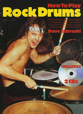 How to Play Rock Drums Music Book/2CDs Drumming Method for Beginners