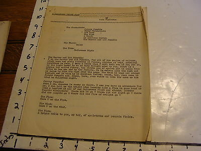 Vintage Puppet Marionette Play Script: A HALLOWEEN PUPPET PLAY by John Tagliabue