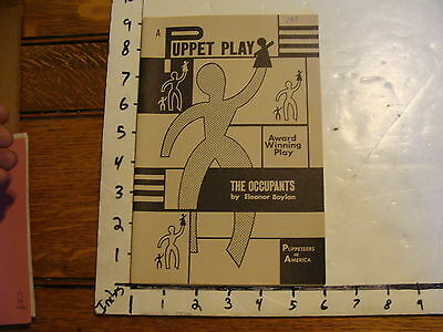 Vintage Puppet Marionette Play Script: THE OCCUPANTS by Eleanor Boylan, 1971