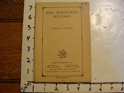 Vintage Play: MRS. MAGICIAN'S MISTAKE by VIRGINIA DIXON, 1931