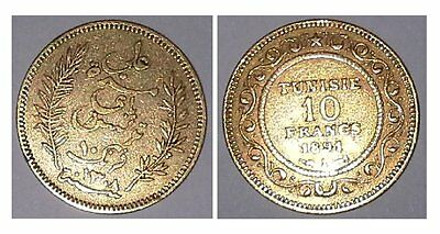 10 Francs Or - Tunisie - 1891 - Ali Bey. Sup.