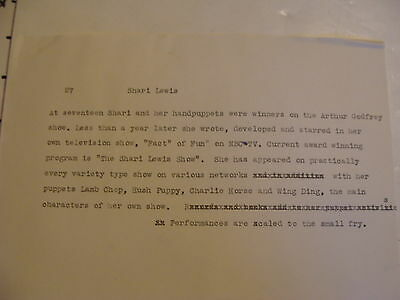 Vintage Puppeteer Biographical Paper: SHARI LEWIS