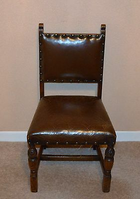Four Antique Oak Leather Sprung Dining Chairs
