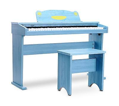 Digital Piano Electronic Keyboard 61 Keys 8 Sounds Beginner Set Bench Pedal Blue