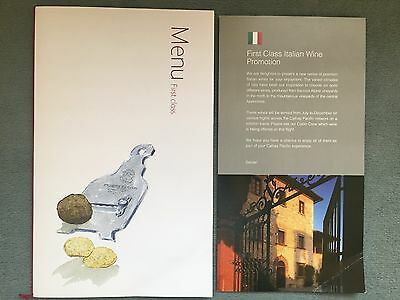"""Cathay Pacific FIRST CLASS Menu + Weinkarte """"Italian Wine Promotion"""""""