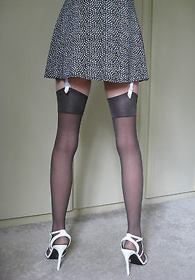 Stunning! - M&S - Look on Legs - Stockings - Small - Nearly Black - NEW