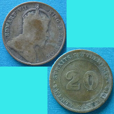 Straits Settlements 20 Cent 1910 km 22a Silver