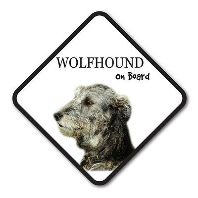 Wolfhound On Board Vinyl Car Van Sticker or Sign and Sucker Pet Animal Lover