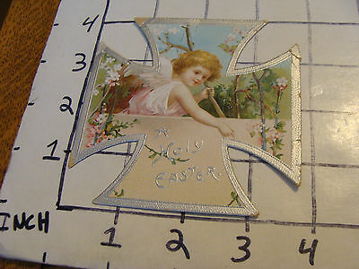 Vintage A HOLY EASTER cross card, embossed, cool, light wear