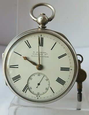 Nice antique solid silver gents H. SAMUEL Manchester pocket watch 1891 working