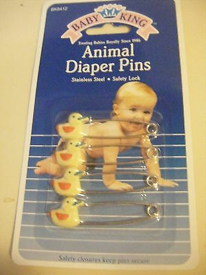 NEW 4 YELLOW  Ducks Baby Diaper Pins Vintage style  Go green and save Christmas
