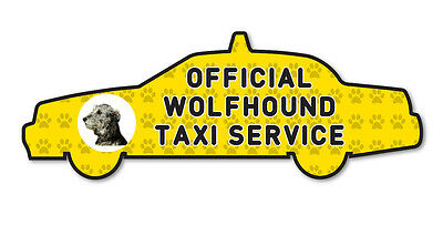 Funny Wolfhound Taxi Sevice Dog Vinyl Car Decal Sticker Pet Lover