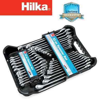 32PC SPANNER SET STUBBY RING SPANNERS AF / METRIC POLISHED 12 POINT PRO by HILKA