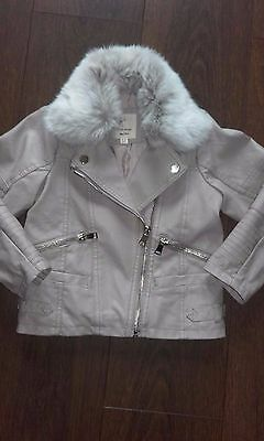 River Island Girls Biker Jacket with Fur Collar, UK Age 4-5 Years