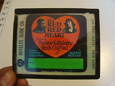 Silent MOVIE LANTERN SLIDE- THE RED RED HEART monroe salisbury ruth clifford