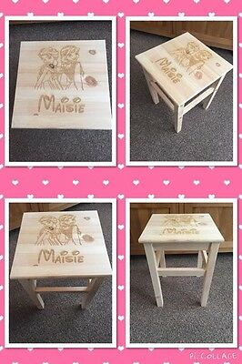 Engraved childrens wooden character stool personalised gift Christmas Birthday