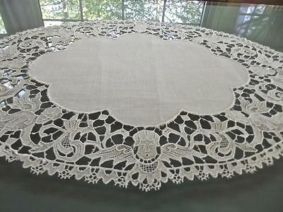 Antique White Linen FAB Plauen Lace Figural Winged Maidens 10x14 Oval Doily