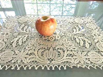 Antique Italian FAB Hand Made Bobbin Lace 11x16 Centerpiece Tray Cloth Liner