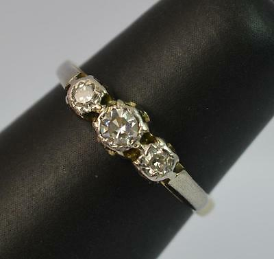 Vintage 1940's 18ct Gold and Diamond Trilogy Ring p0455