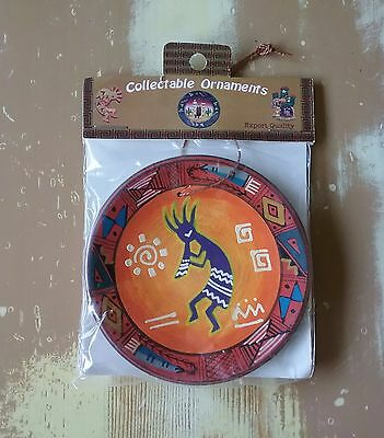 Collectable Christmas ORNAMENT Handpainted Peru - DUAL KOKOPELLI - Clay Plate
