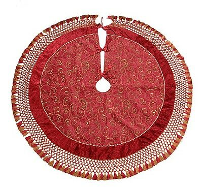 """Burgundy & Gold Embroidered 60"""" Holiday Tree Skirt with Fringe QVC NIP"""