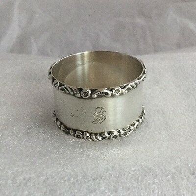 Heavy Mappin & Webb Antique Solid Silver Napkin Ring -  Monogramed 's'
