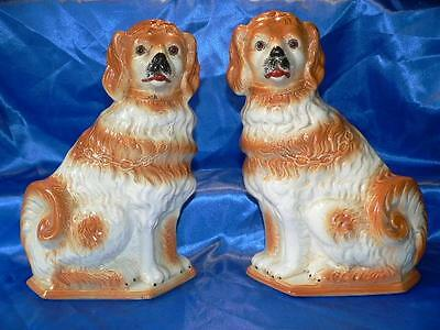 A Pair of Antique  BO'NESS Scottish  Pottery Spaniels  Wally  Dogs  32 cm Tall