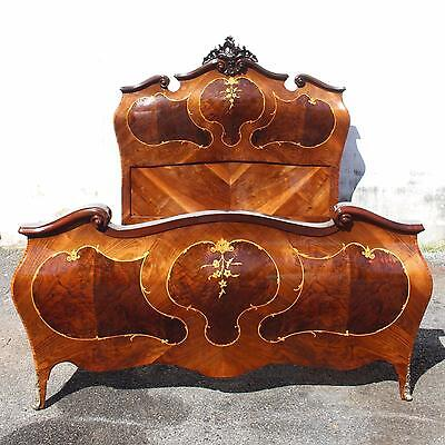 French Louis Xv Xvi Style Queen Size Mahogany Bed Marquetry Inlay Bronze Accents