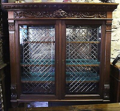 Antique Italian Carved Walnut Display Cabinet Credenza Buffet China Bookcase