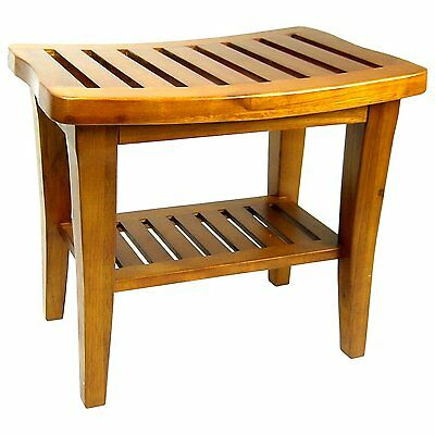 Teak Wood Shower Bench 13.75 Inches D x 21 Inches W x 17 Inches H Durable NEW
