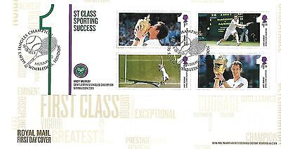 Gb 2013 Andy Murray Wimbledon Champion Fdc With Special Handstamp