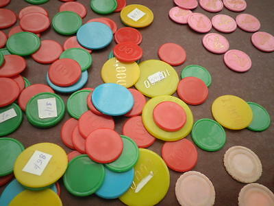 Poker Game Playing Tokens / Chips - 0Ver 200 Items -  Various Sizes - Plastic