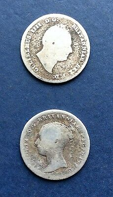 Two, Four Pence Coins, King William Iv 1836 & Victoria 1839