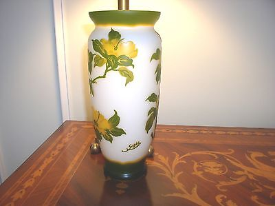 """Magnificent Green ,yellow, Flowers Galle French Cameo Glass 12"""" Vase"""