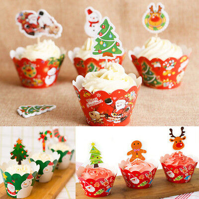 24pcs Christmas Muffin Cake Wrappers & Toppers Cupcake Cases Party Xmas Decor