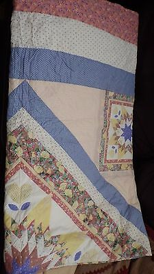 king size patchwork quilted bed spread throw cover