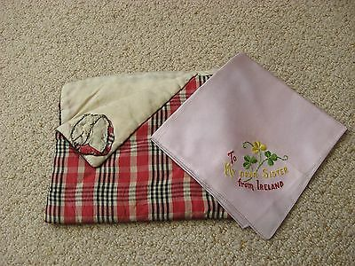 Vintage SATIN? HANDKERCHIEF TO MY SISTER FROM IRELAND AND A HANDKERCHIEF CASE