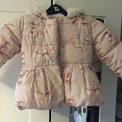 Next Warm Winter Girls Coat Pink Fairies Size 3-4