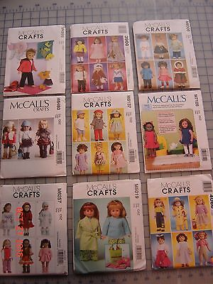 "McCall's 18""  Doll Cloths Patterns Lot of 9 New Uncut Fit American Girl Dolls"