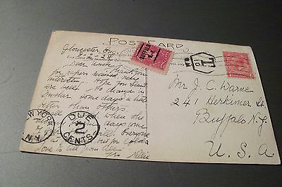 Great Britain  1928 post card with USA postage due