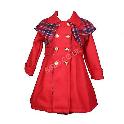 Girls Red Winter Coat and Dress, Formal Girls Winter Coats and Dress Set 2 to 8