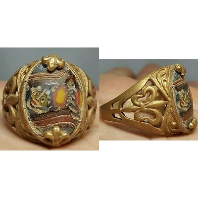 Ancient Mosaic Glass face Antique Gold Ring With # G