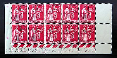 FRANCE 1939 SG513a U/M Bottom Marginal Block of 10 XZ98