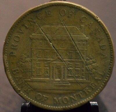 1842 Province of Canada Bank of Montreal One Penny Bank 34mm Token