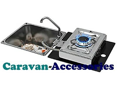 CAN Sink with Flip-out Single Burner Hob Square Crystal Glass - Marine/Motorhome