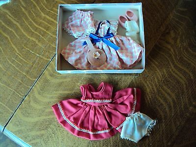 Two little dresses with accessories for a Ginny doll