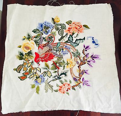 Vintage Embroidery Linen Panel