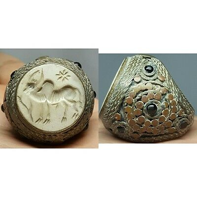 Wonderful Ancient intaglio stone Bronze Ring # G